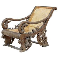 Rare 19th Century Profusely Carved Burmese Veranda Chair