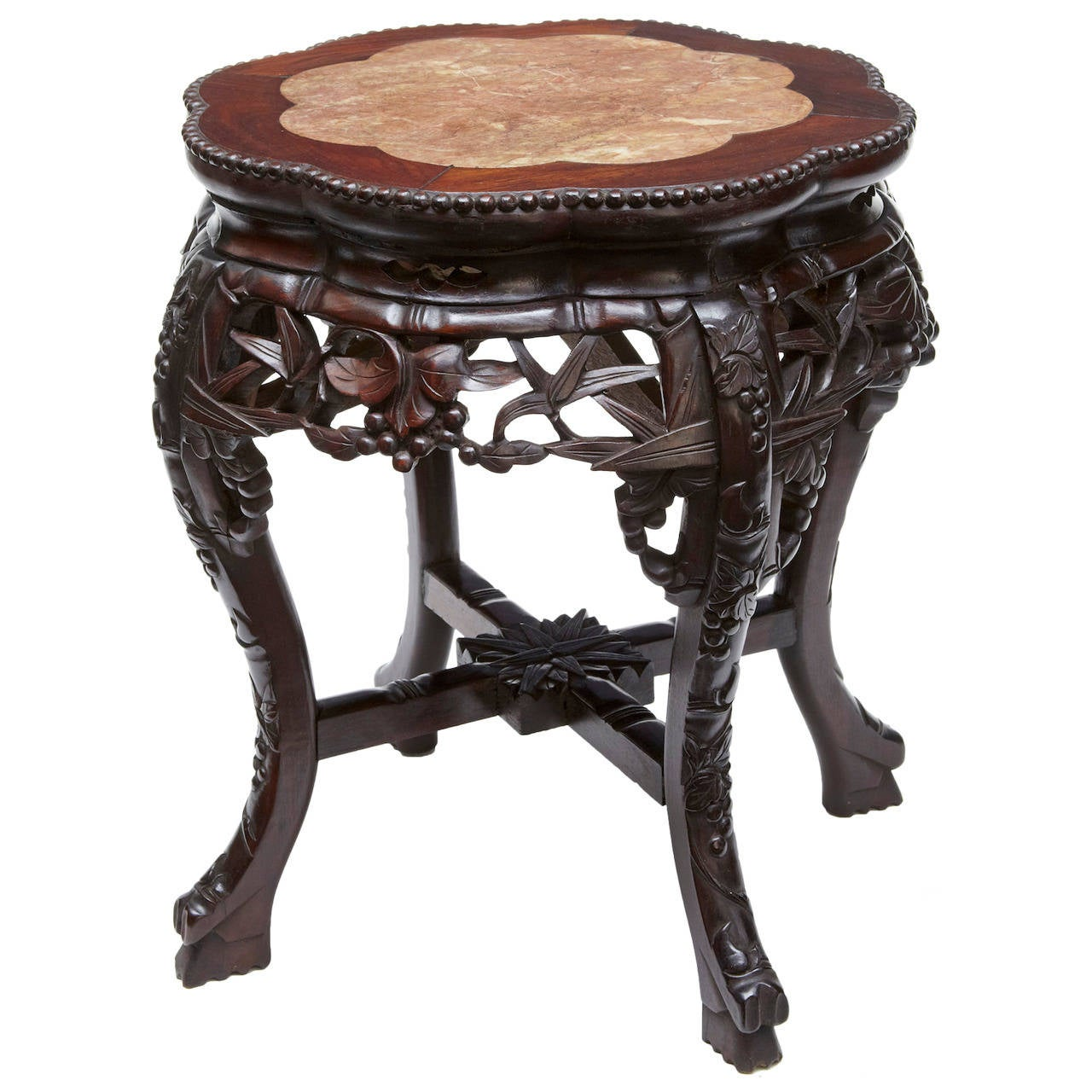 19th Century Chinese Carved Hardwood Plant Stand Table At