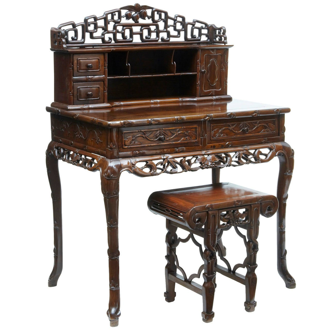19th century carved hongmu chinese desk and stool at 1stdibs for Oriental furniture for sale