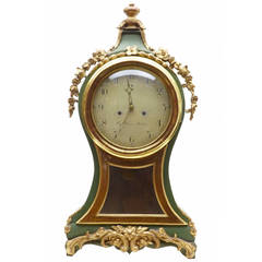 18th Century Swedish Gilt and Painted Mantle Clock