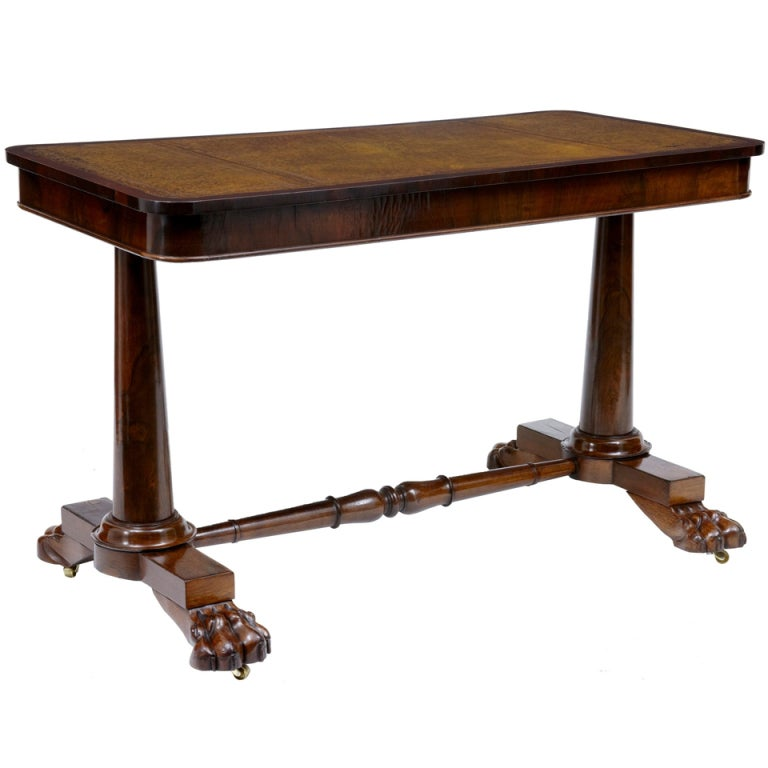 19th Century Antique Regency Rosewood Lion Paw Library Table Desk 1