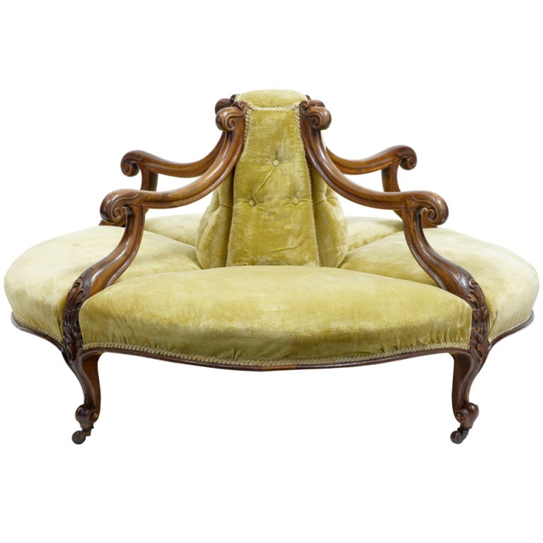 19th Century Victorian Walnut Conversation Settee At 1stdibs