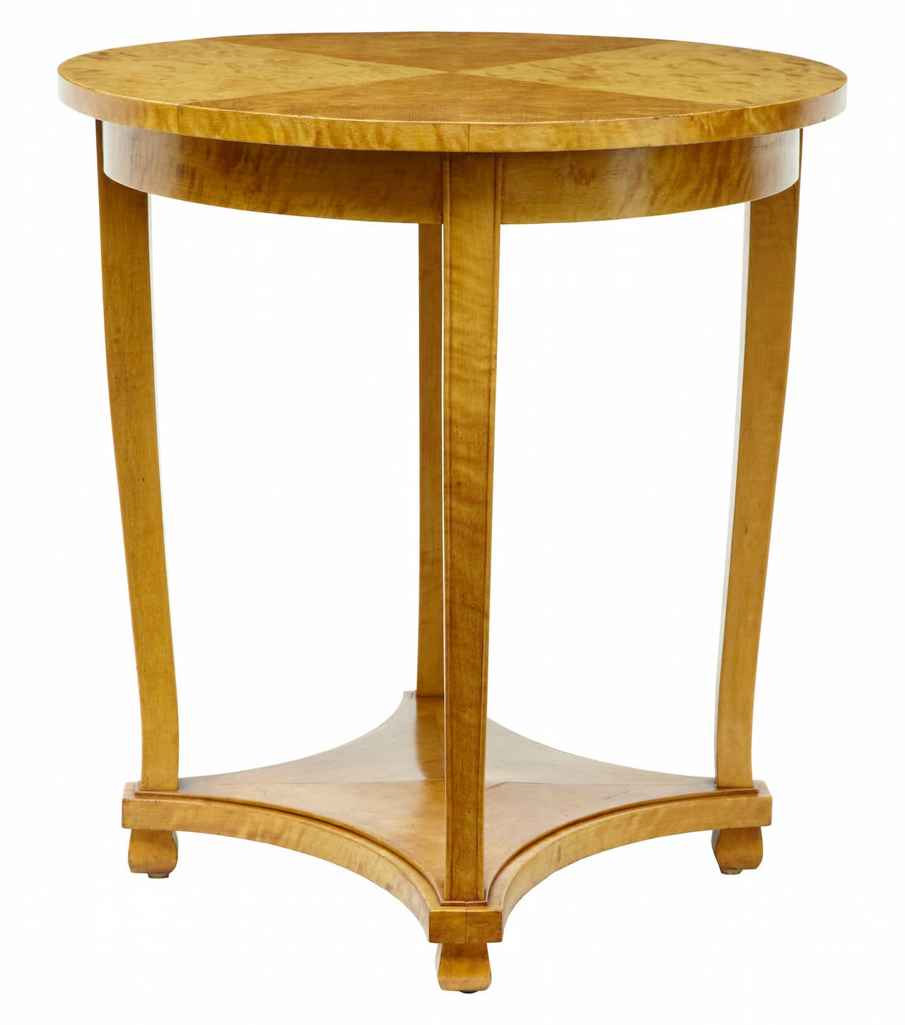 19th century Swedish birch oval occasional table  Good quality oval Swedish side table.  Quarter veneer to the top, tapering legs with shelf forming part of the base  Measures: Height: 29 1/2
