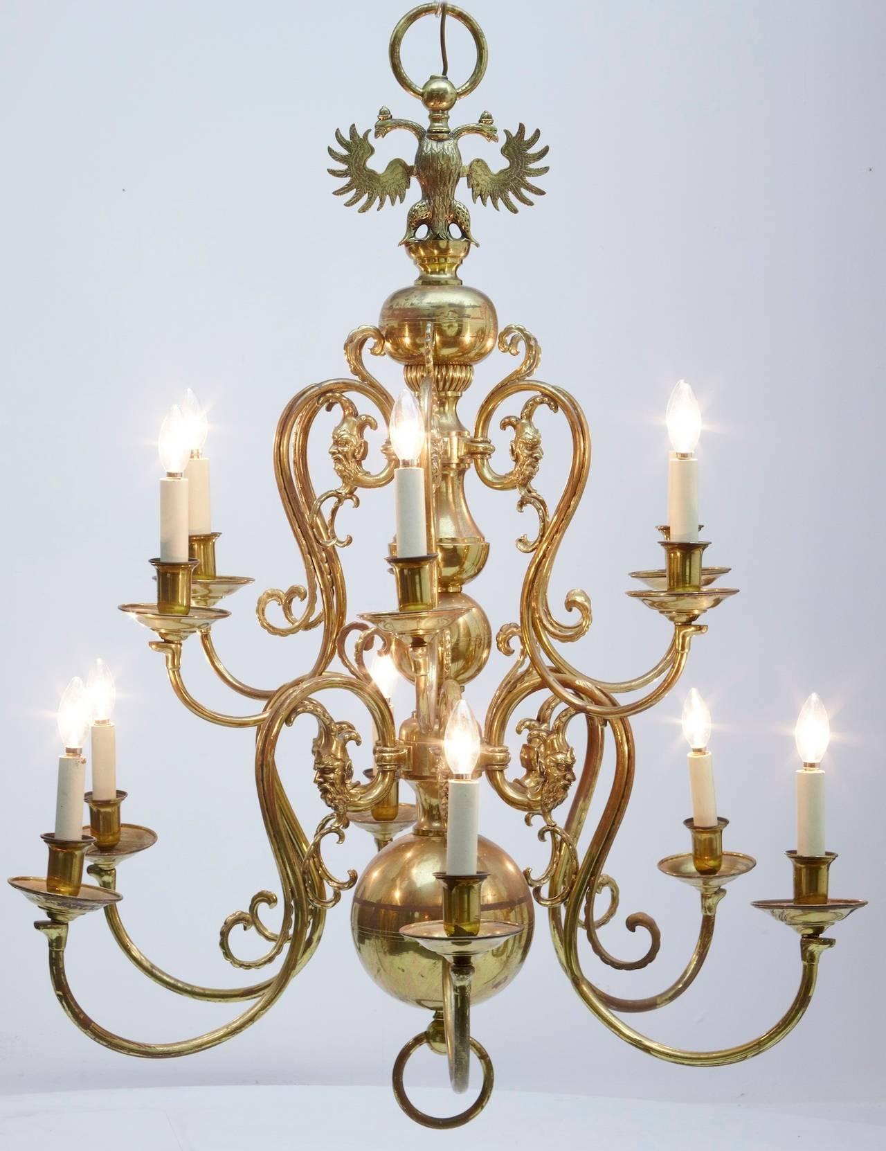 19th Century Twelve Arm Dutch Brass Chandelier at 1stdibs