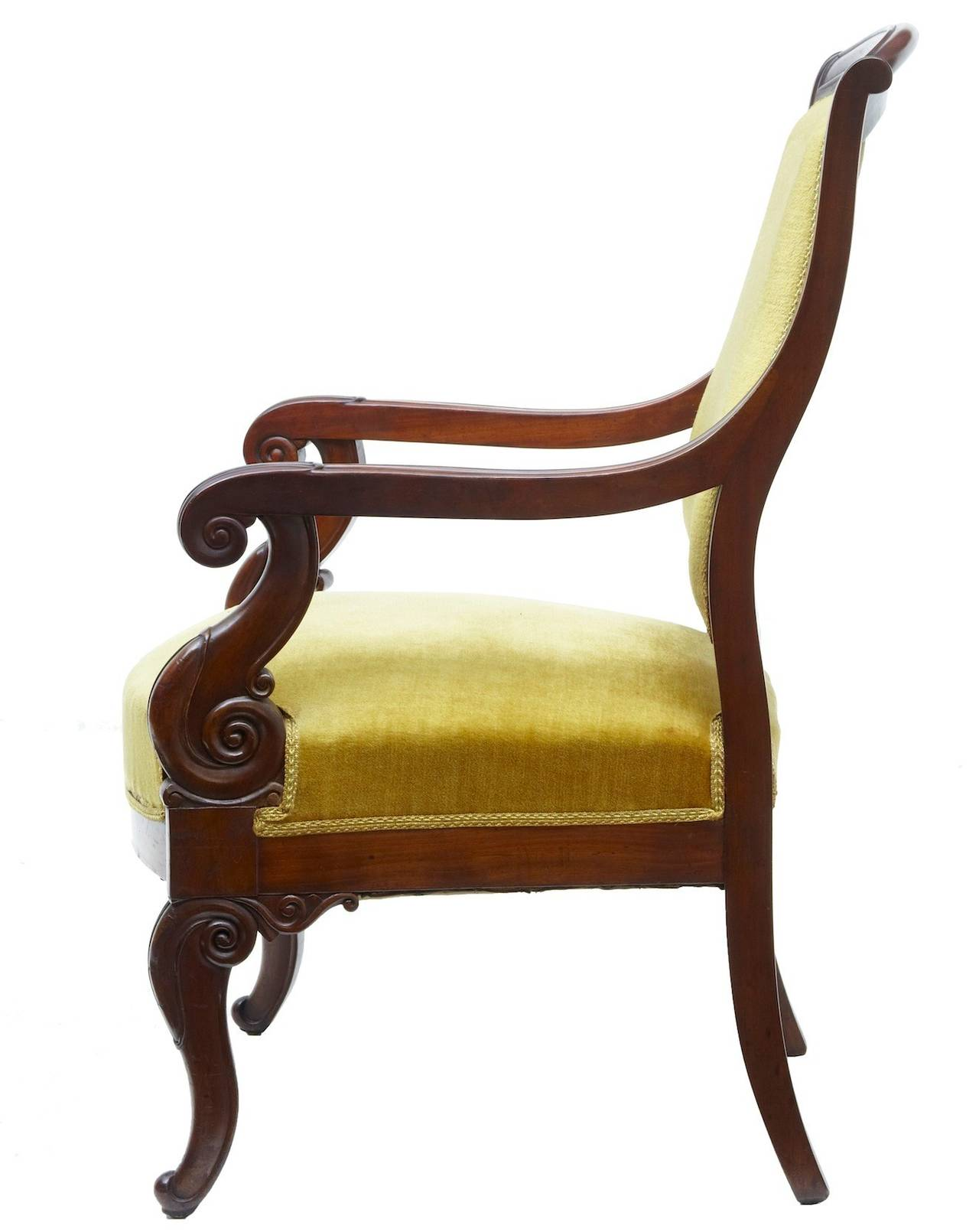 Mahogany armchair, circa 1840  Scrolled arms and legs.  Measures: Height 37 1/2