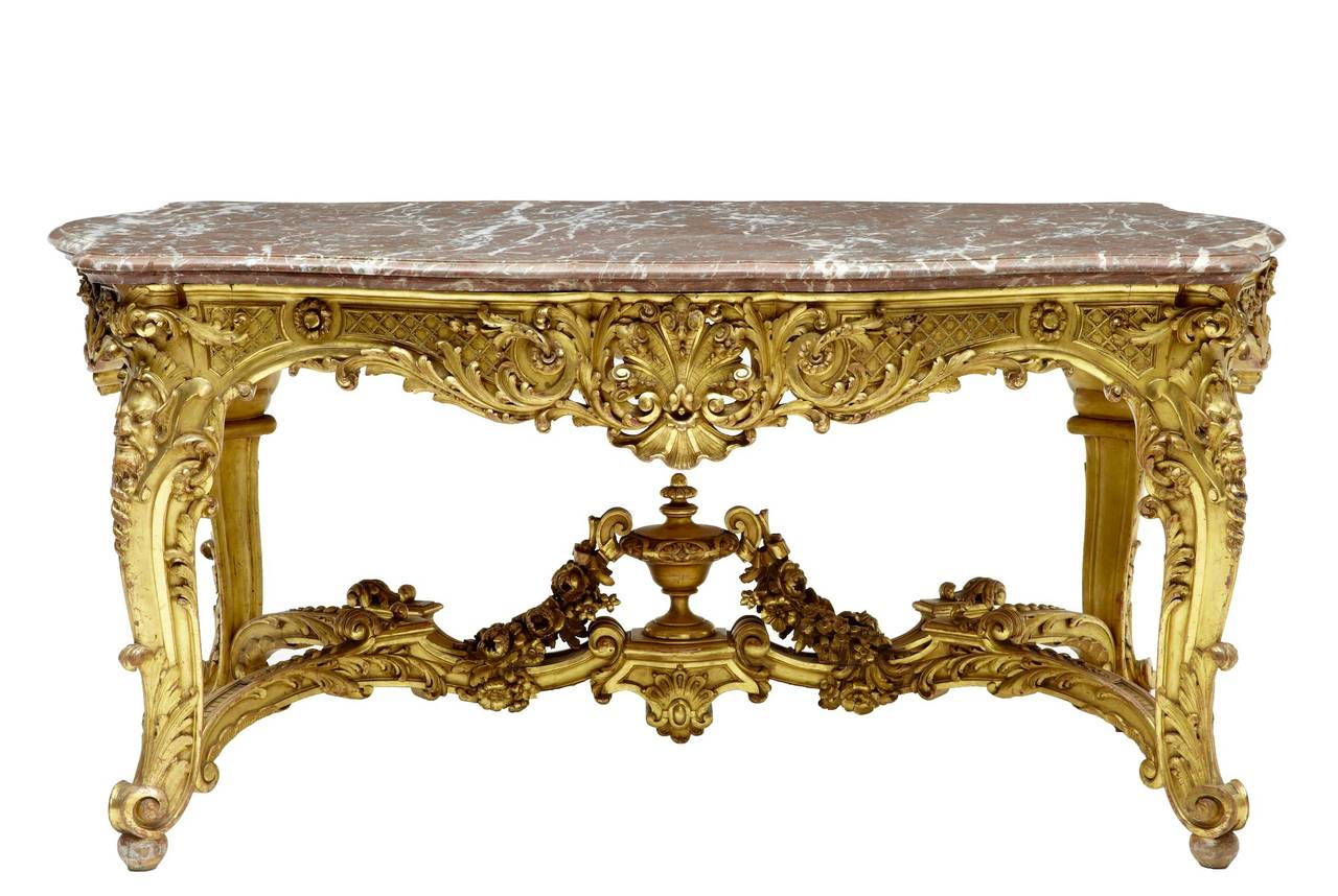Stunning 19th Century French Carved Wood Gilt Baroque Center Table at 1stdibs # Table Basse Transparente Baroque