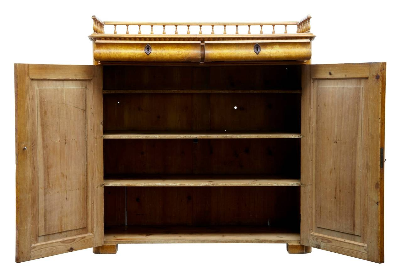 19th century burr birch cupboard cabinet at 1stdibs for 19th century kitchen cabinets