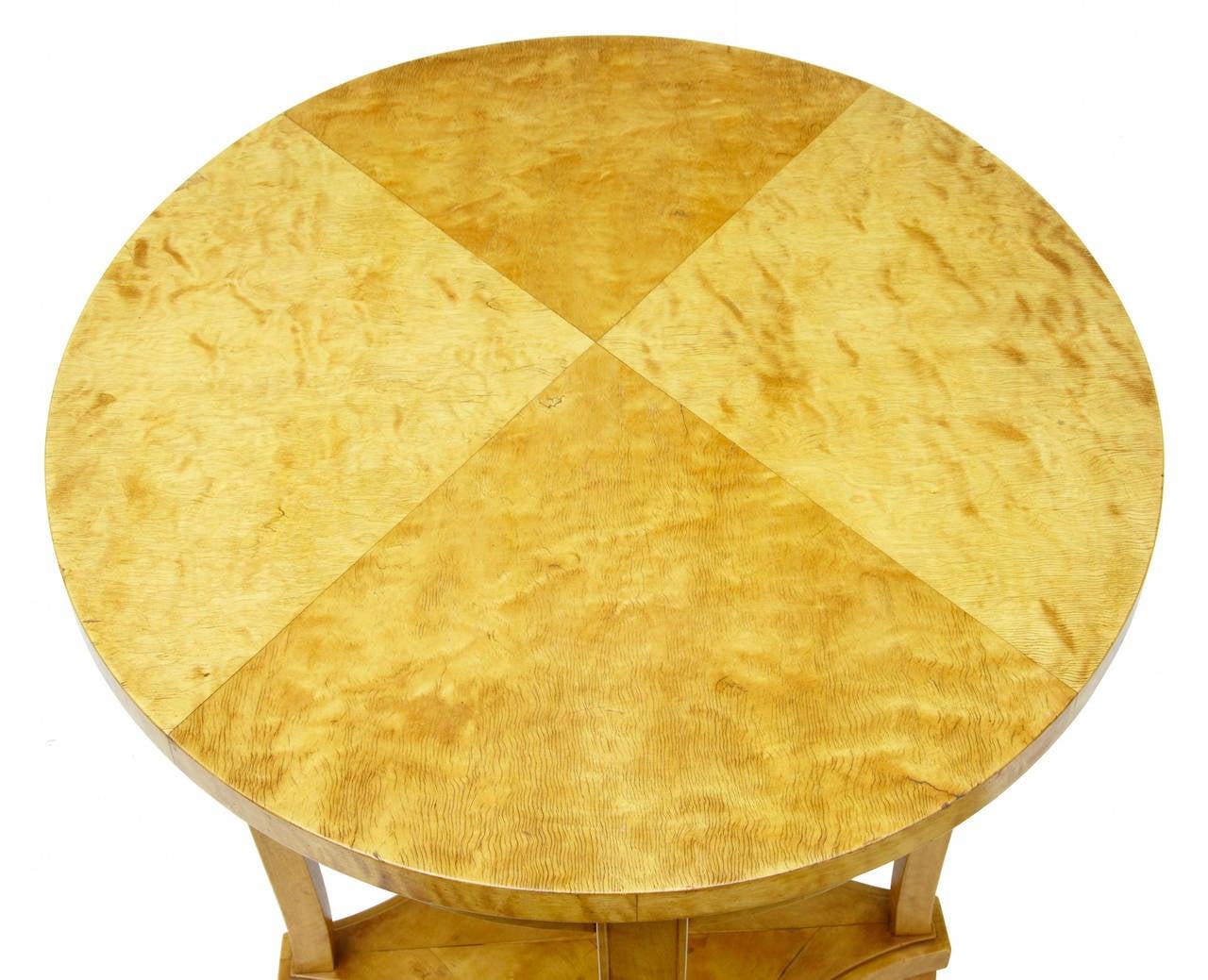 Biedermeier 19th Century Swedish Birch Oval Occasional Table For Sale