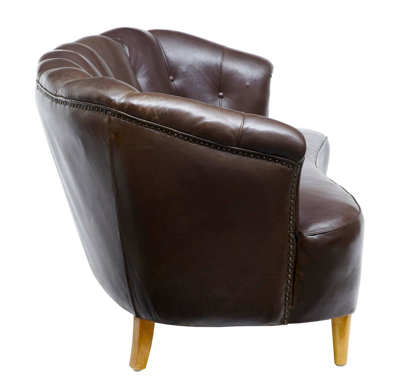 1970s Brown Leather Shell Back Three Piece Suite Sofa And