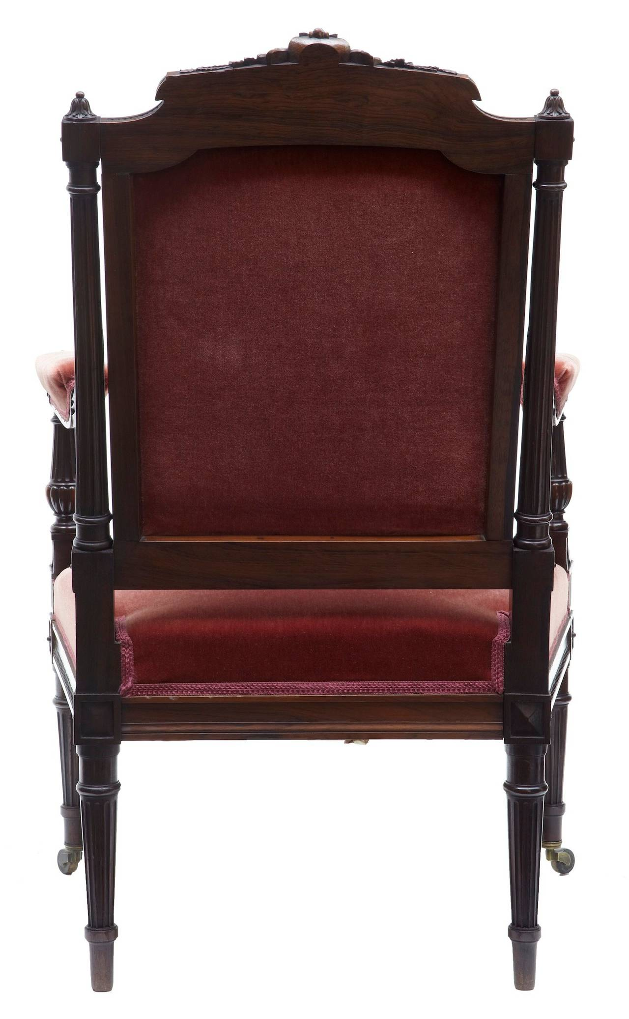 Woodwork 19th Century French Carved Rosewood Armchair For Sale