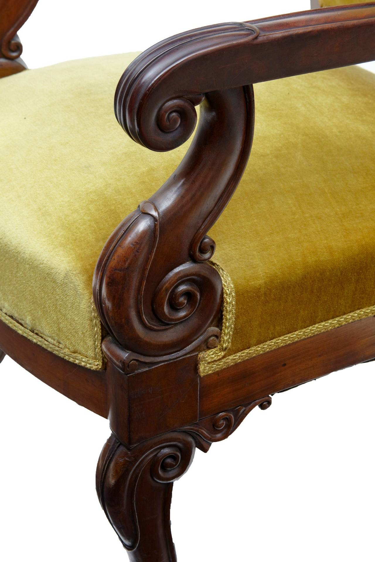 19th Century French Mahogany Armchair In Good Condition For Sale In Debenham, Suffolk
