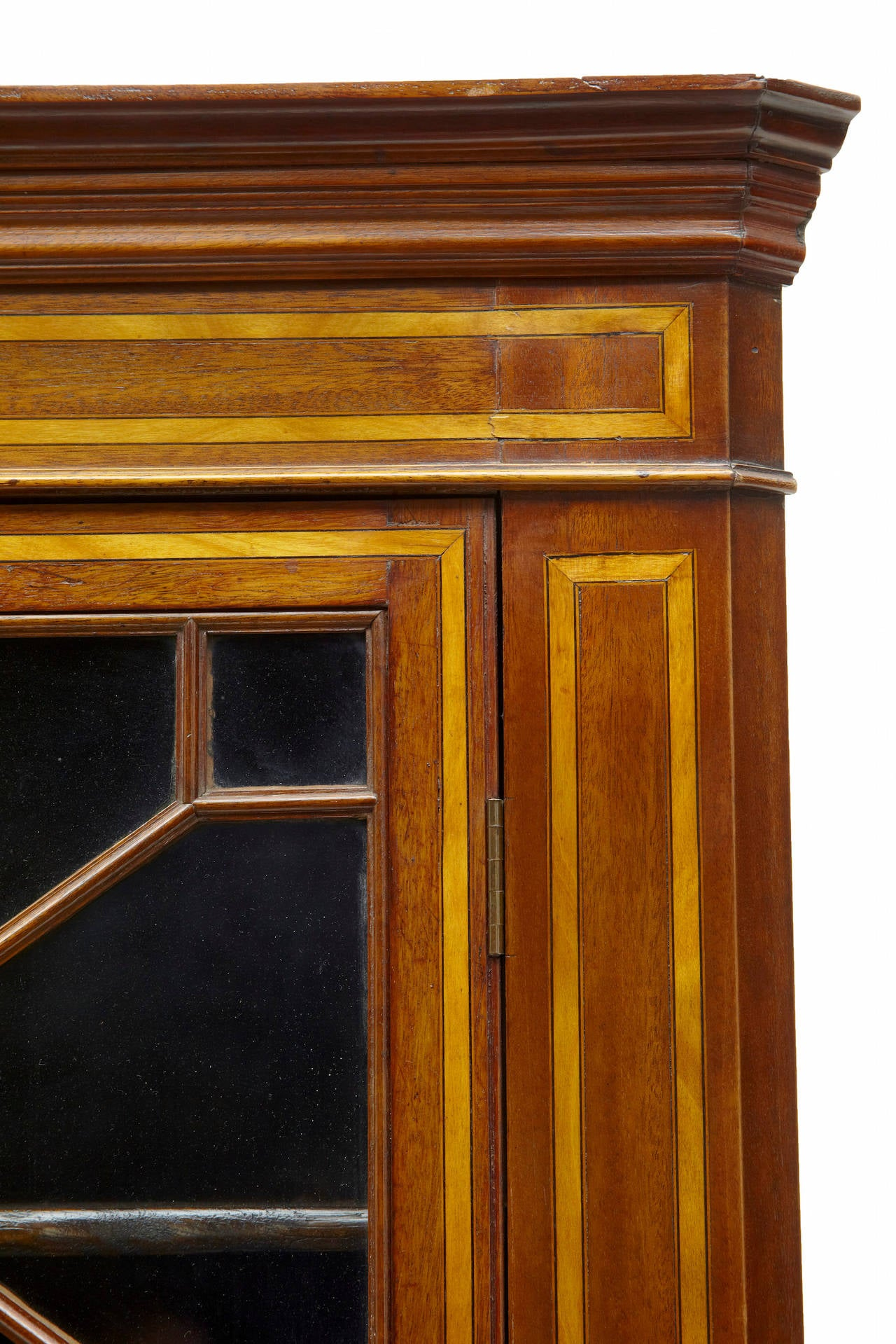 Woodwork 19th Century Mahogany Inlaid Corner Cabinet For Sale