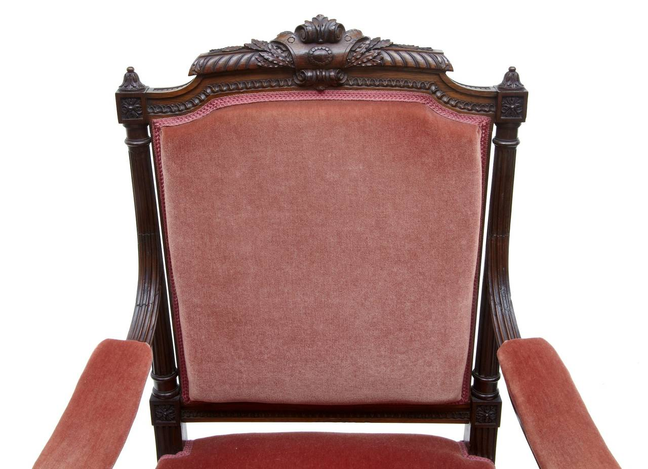 19th Century French Carved Rosewood Armchair In Good Condition For Sale In Debenham, Suffolk