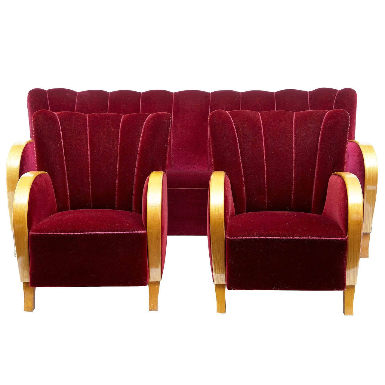 1960s retro modern shell back three piece suite of sofa and chairs at