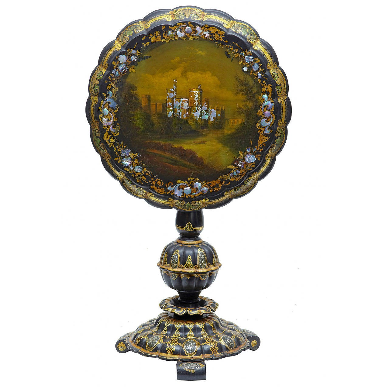 19th Century Papier-Mâché and Painted Mother-of-pearl Inlaid Tilt-Top Table