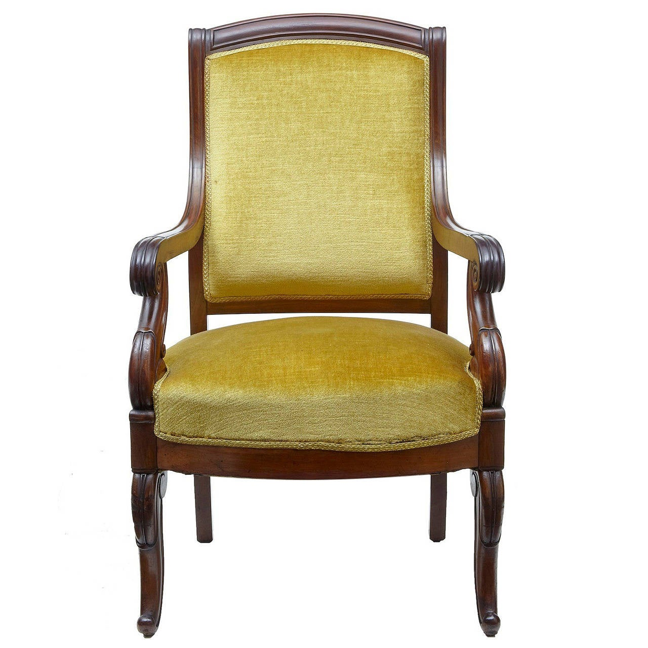 19th Century French Mahogany Armchair For Sale