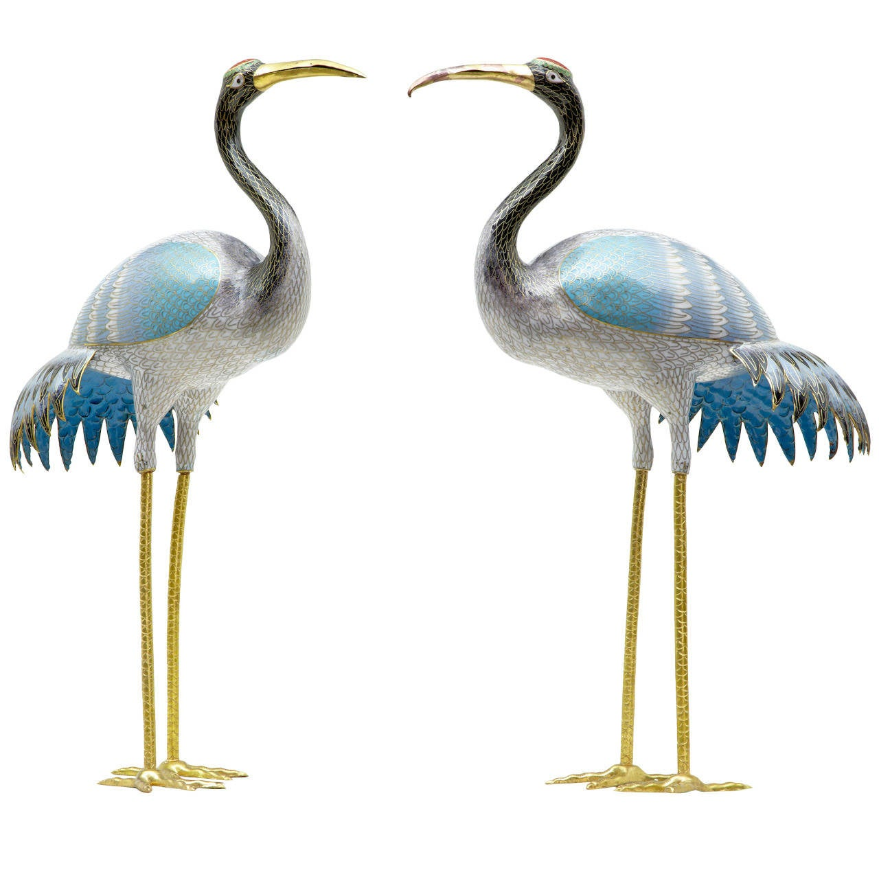 pair of 20th century cloisonne enamel decorative cranes at 1stdibs. Black Bedroom Furniture Sets. Home Design Ideas