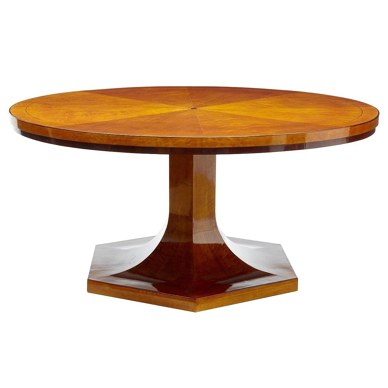 1920s Large Art Deco Birch Round Dining Table For Sale