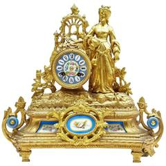 19th Century French Gilt Mantle Clock with Sevres Plaques