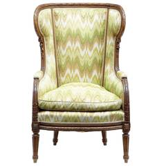 19th Century, French Carved Walnut Wingback Armchair