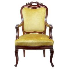 19th Century French Carved Mahogany Armchair