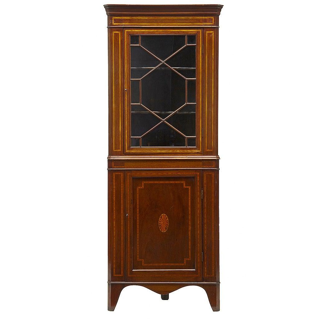 19th Century Mahogany Inlaid Corner Cabinet For Sale