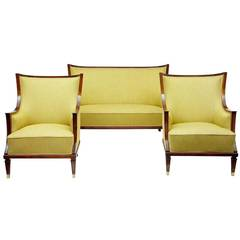 1950s Mahogany Three Piece Suite of Sofa and Armchairs