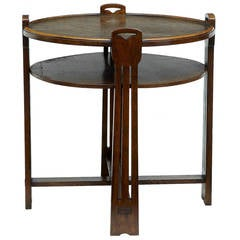 19th Century Oak Arts and Crafts Table with a Copper Top