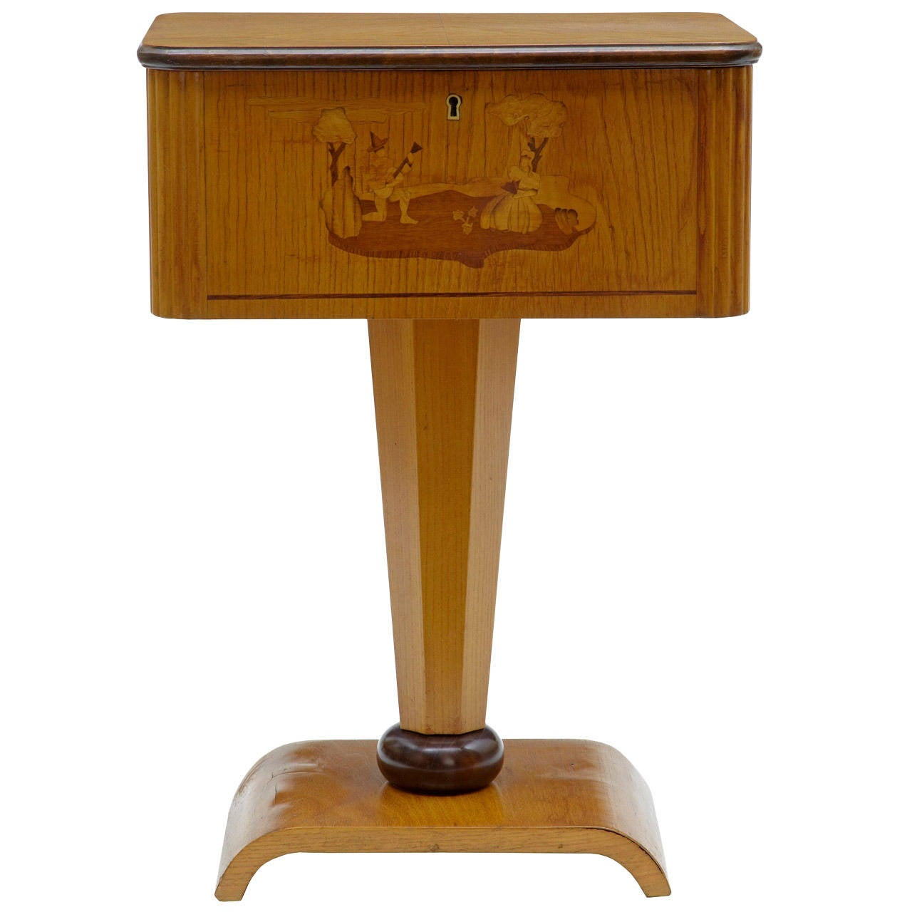 1920s Art Deco Birch Inlaid Small Work Table