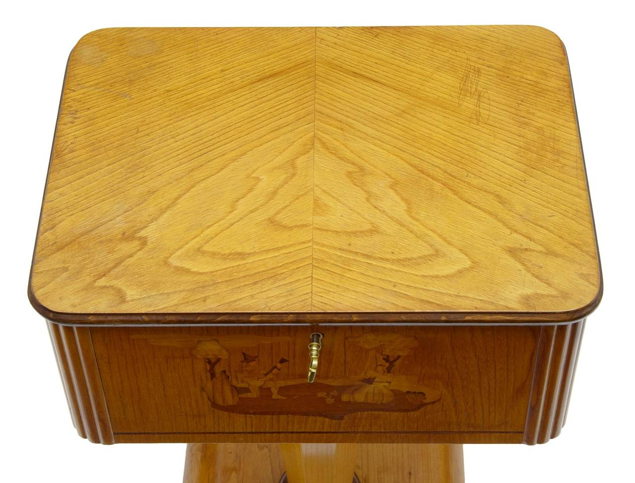 1920s Art Deco Birch Inlaid Small Work Table In Good Condition For Sale In Debenham, Suffolk
