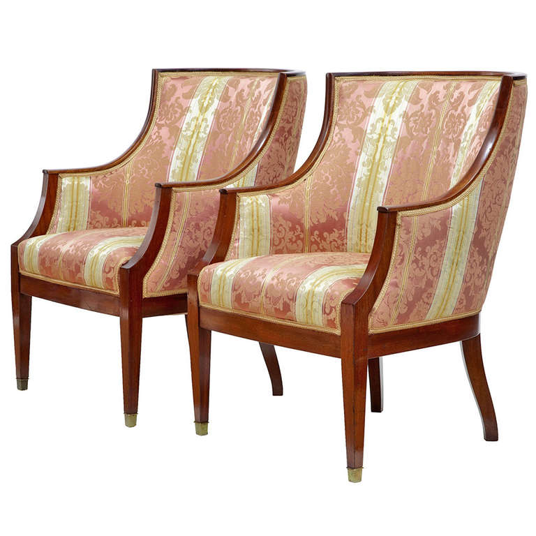 19th Century French Empire Mahogany Club Chairs
