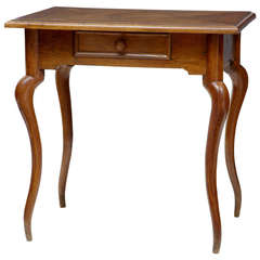 19th Century French Farmhouse Rustic Oak Parquet Top Side Table
