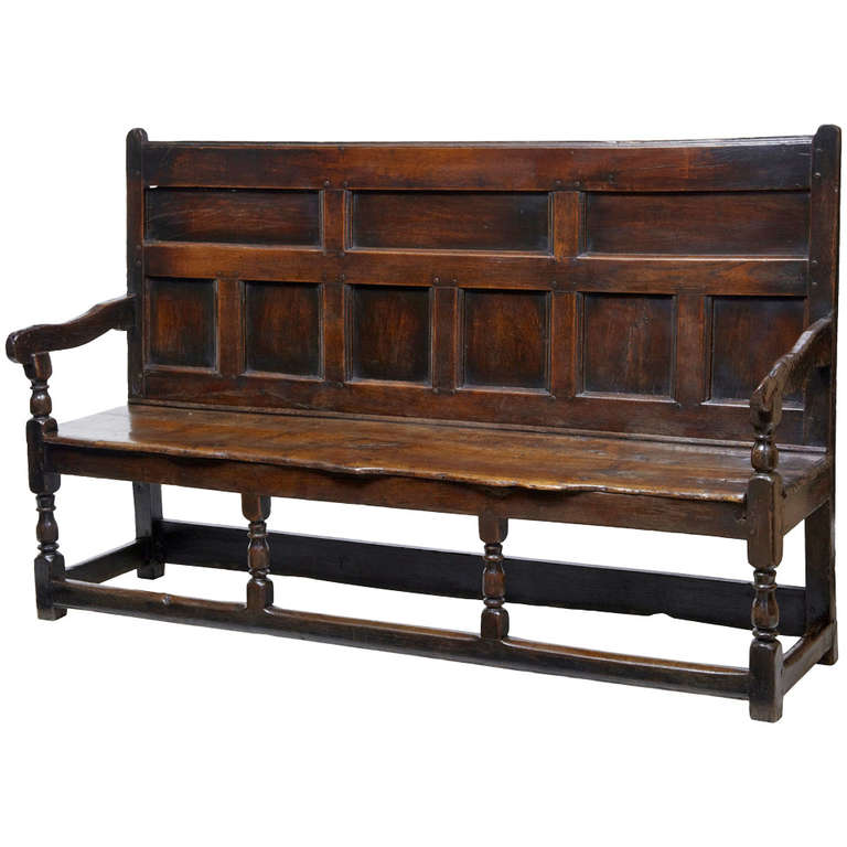17th Century English Oak Panel Back Settle Bench For Sale At 1stdibs