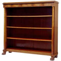 19th Century Mahogany Empire Influenced Open Bookcase