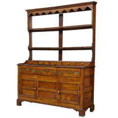 18th Century Oak Dresser and Rack with Spice Drawers