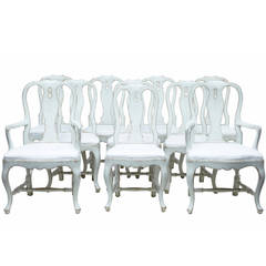 20th Century Swedish Painted Set of Eight Dining Chairs with Two Armchairs
