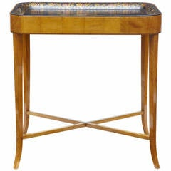 19th Century Birch Toleware Tray Table