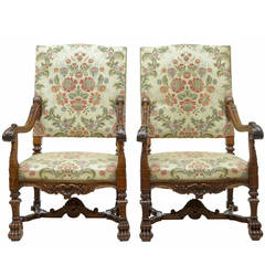 Superb Pair of 19th Century Carved Walnut, French Armchairs