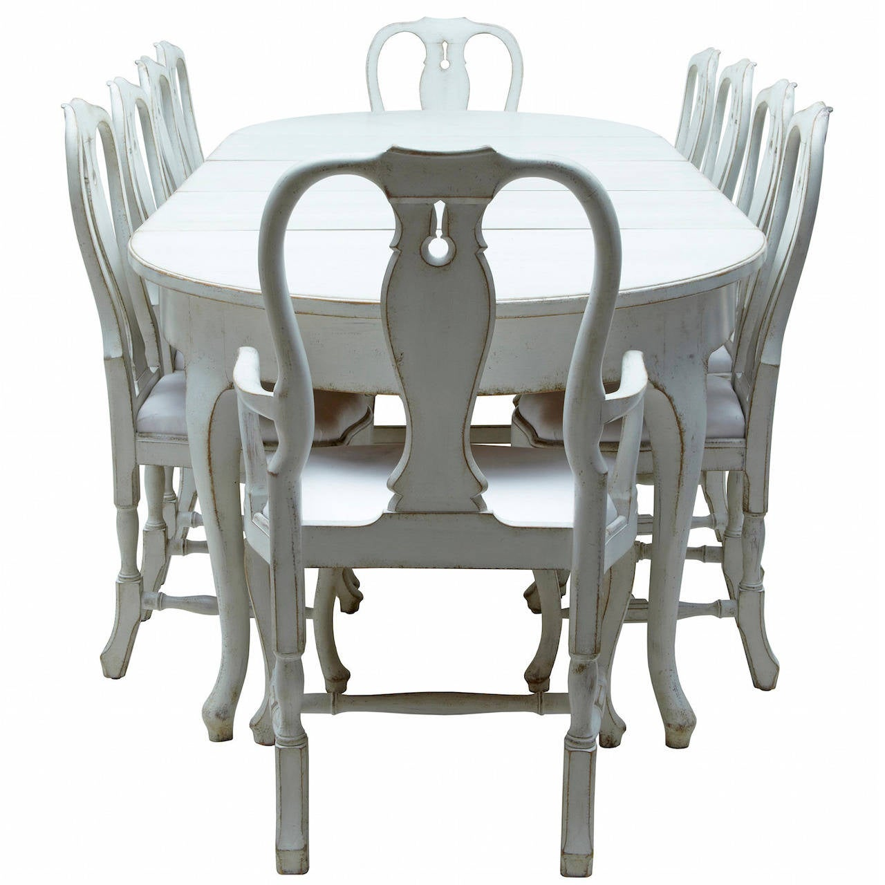 century swedish painted dining room table with ten chairs at 1stdibs
