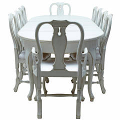 20th Century Swedish Painted Dining Room Table with Ten Chairs