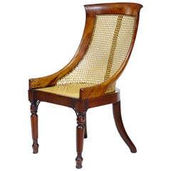 Rare 19th Century Regency Mahogany Shaped Bergere Nursing Chair