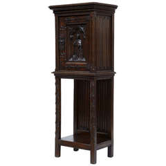 19th Century Carved Oak Victorian Hall Cupboard