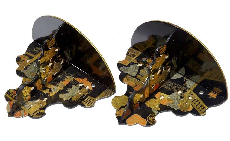 Pair Of Chinoiserie Black Lacquer Bracket Shelves At 1stdibs