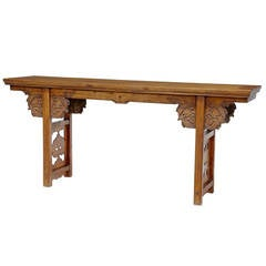 19th Century, Chinese Carved Elm Alter Table