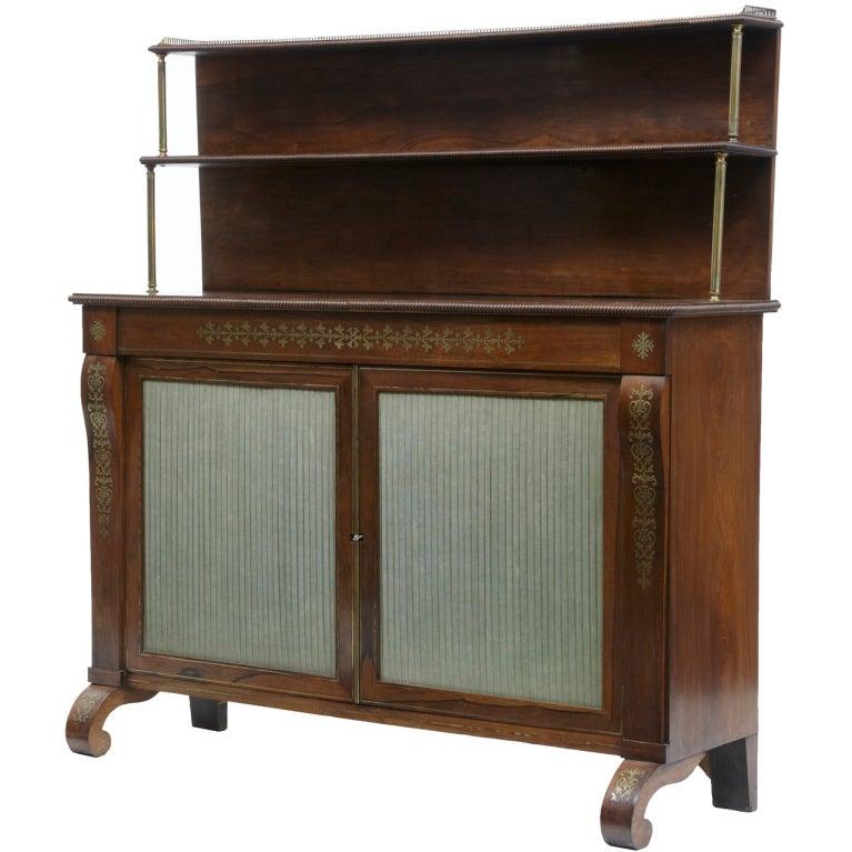 19th Century Regency Rosewood Brass Inlaid Chiffonier Cabinet