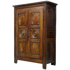 18th Century, French Fruitwood Armoire