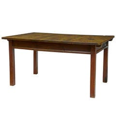 19th Century Rustic Swedish Walnut and Painted Kitchen Table
