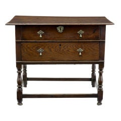 Early 18th Century William and Mary Oak Two-Drawer Side Table