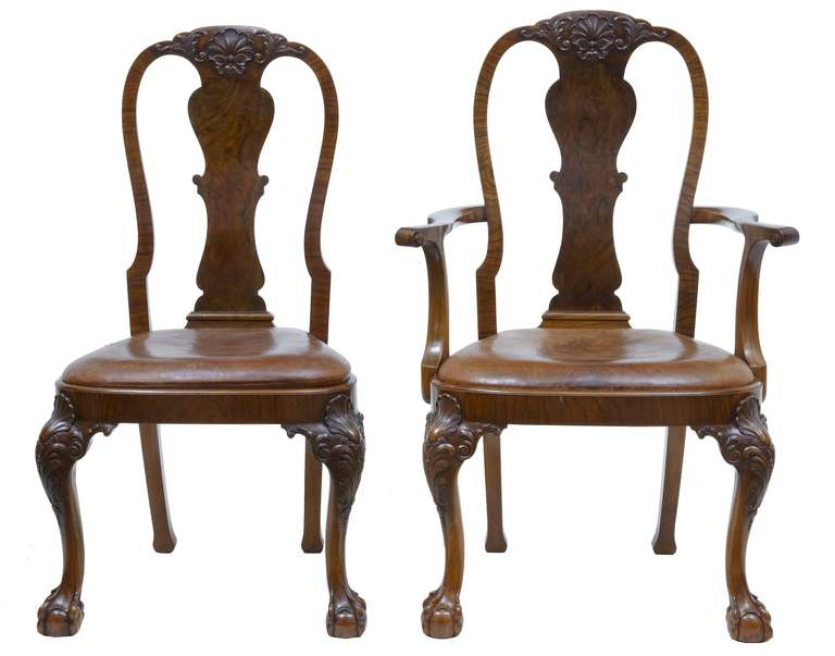 Early 20th Century Queen Anne Influenced Set Of Walnut Dining Chairs At 1stdibs