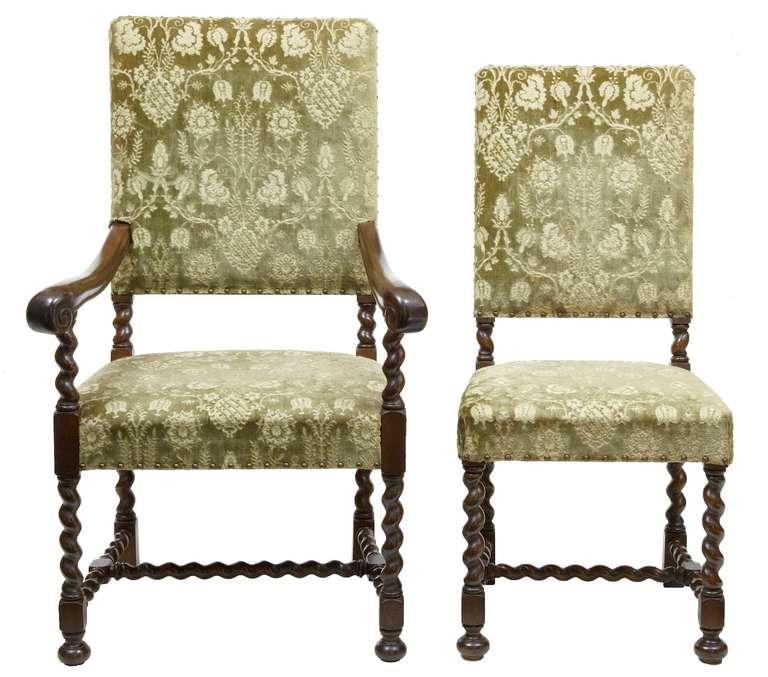 Set Of Twelve 2 19th Century Oak Barley Twist Dining Chairs At 1stdibs